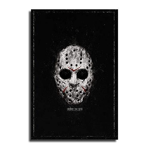 FINDEMO Jason Voorhees - Lienzo decorativo con máscara y póster para pared (40 x 60 cm)