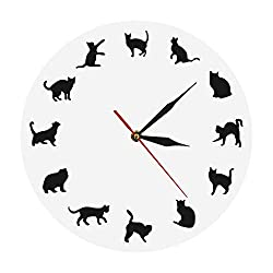 The Geeky Days Cat Wall Clock 12 Black Kitty Animal Decorative Wall Clock Modern Cats Clock Kittens Wall Watch Silent White Clock Handmade Nursery Wall Art Decor for Kid's Room