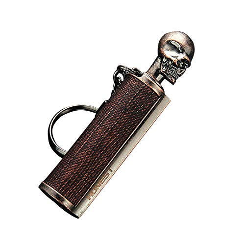 FINEjuyudd Flint Metal Matchstick Lighter Bottle Keychain, Outdoor Portable Emergency Waterproof Survival Permanent Match, Refillable Fire Starter for Camping, Gift for Birthday Valentines Day
