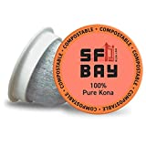 SF Bay Coffee 100% Pure Kona 30 Ct Medium Roast Compostable Coffee Pods, K Cup Compatible including Keurig 2.0