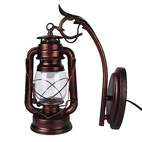 Lámpara de Linterna de Pared, lámpara de Pared de Hierro Decorativa, Interior Rojo Oscuro Antiguo para cafetería de Pasillo