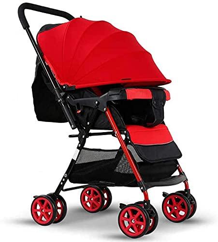 Cochecito plegable Cochecito de bebé ultralizante de dos vías de doble vía puede sentarse un sistema de viaje de cochecito de choque plegable reclinado (Color : Red)