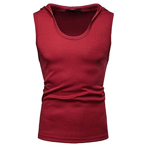Camiseta Sin Mangas Hombres Verano Sin Mangas Hombres Top Básico Clásico Color Sólido Hombres Sudadera con Capucha Deporte Casual Transpirable Fitness Correr Hombres Camiseta B-Red XXL