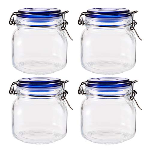 TOPZEA 4 Pack Square Glass Jars, 25 Oz Clear Glass Canning Jar with Wire Bail and Blue Lid Airtight Glass Canister Food Storage Container for Tea, Sugar, Cocoa, Coffee