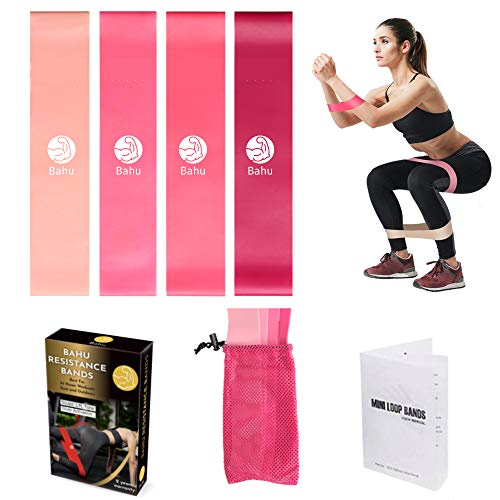 Bahu Premium Loop Exercise Bands with Instruction Guide, Carry Bag, Set of 4 (Pink)