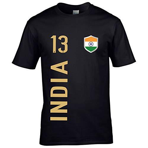 FanShirts4u Herren Fan-Shirt Jersey Trikot - Indien/India - T-Shirt inkl. Druck Wunschname & Nummer WM (5XL, India/schwarz)