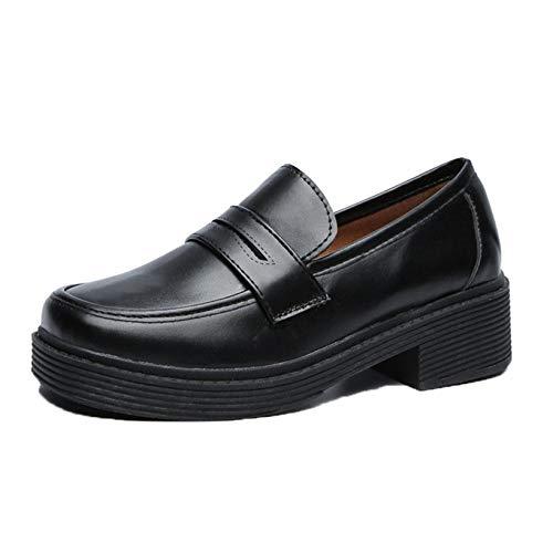 Zapatos de Cuero de Mujer Vintage Otoño Primavera Mocasines de Estilo japonés Parte Inferior Gruesa Usable para el Ocio al Aire Libre Zapatos de Trabajo