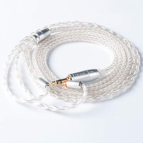 KBEAR 8 Core Silver Plated Upgrade Earphone Cable, Detachable Replacement Cable HiFi in Ear Monitor Cable for TIN T2 T3 P1 for Shure SE215 SE315 SE425 SE535 UE900 (MMCX 3.5mm)
