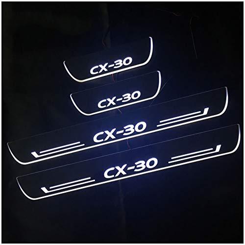 para Mazda CX30 NA 4Pcs Acero Inoxidable Umbral de Puerta Coche Door Sill Accesorio Placa Laterales Listones Styling Proteccion Bienvenido Patada Pedal Desgaste