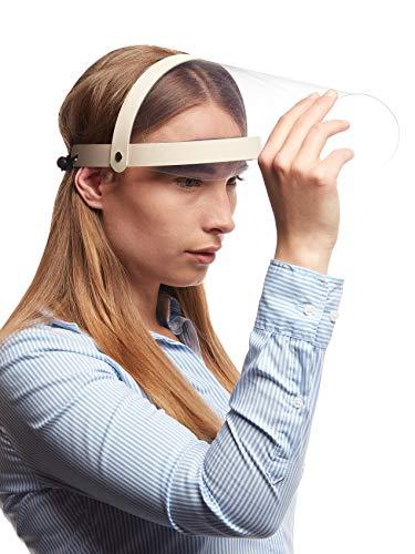 5X Visier Gesichtsschutz Schutz Aufklappbar Verstellbar Gesichtsschutzschild Augenschutz Augen Spritzschutz vor Flüssigkeit Face Shield Schirm Gesichtsvisier Spuckschutz Beige 5 Stück