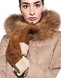 YISEVEN Damen Shearling Lederhandschuhe mit Gefüttert Winter Lammfell Leder Autofahrer Handschuhe Geschenk, Kamel L