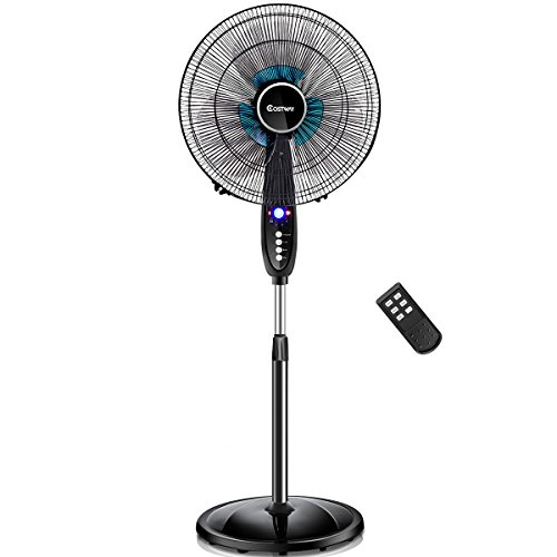 COSTWAY Pedestal Fan, 16-Inch Adjustable Height Fan, 3-Speed Digital Control,...