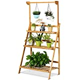 Giantex 3-Tier Bamboo Hanging Plant Stand, Foldable Flower Pot Organizer Display Storage Rack, Adjustable Height Hanger Rod, Planter Shelves Potted Holder for Patio Garden Balcony