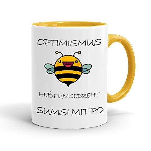 True Statements Lustige Tasse Optimismus heißt umgedreht sumsi mit po - Kaffeetasse mit Spruch als Geschenk - beidseitig bedruckt - spülmaschinenfest, innen gold gelb