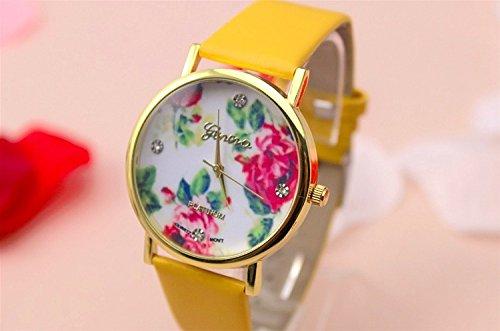 Domire Geneva Damen-Armbanduhr, Rosenmotiv, Quarzuhr, Stil 7