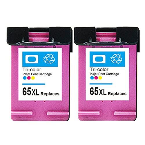 RICR 65 XL Cartucho de Tinta Compatible para HP65XL, Alto Rendimiento Trabajo con envidia 4510 4511 OfficeJet 3830 3831 Deskjet 1110 1111 2136 3637 3638 Impresora Color x 2
