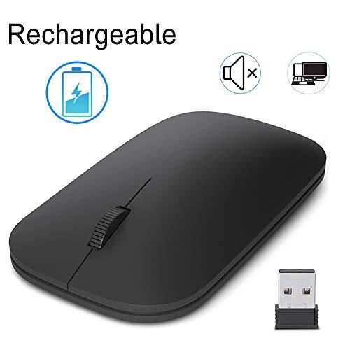 EasyULT Wiederaufladbar Kabellose Maus, 2.4 GHz Verbindung via Nano-USB-Empfänger, Mute Silent Click Optische Mäuse, 1200 DPI Funkmaus für PC/Tablet/Laptop (Schwarz)