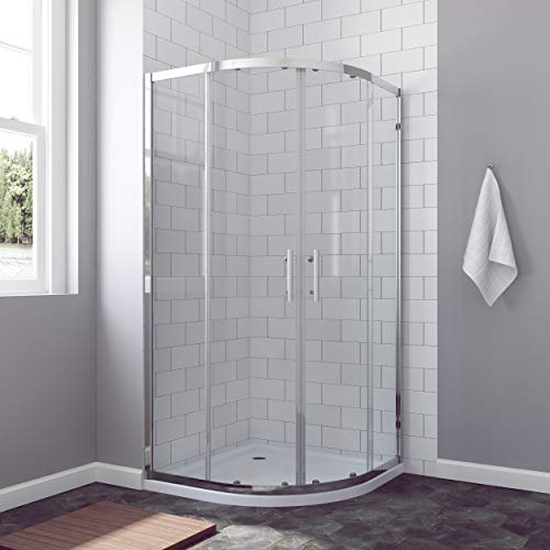 AQUABATOS® Duschkabine 80x80 cm halbrund Viertelkreis Schiebetür Duschabtrennung Runddusche Duschtrennwand Glas Höhe 185 cm