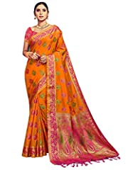 Saree Fabric :- Banarasi Kanjivaram Art Silk , Blouse Fabric :- Banarasi Kanjivaram Art Silk Saree Color: Orange | Blouse Color: Pink Saree Length :- *5.5 Meter* , Blouse Length :- *0.8 Meter* Saree Work :- *Woven * , Blouse Work :- *Woven * Saree Co...