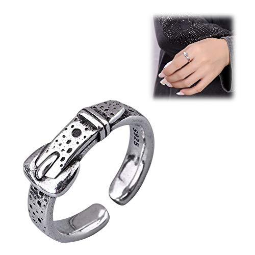 xiaofeng214 Joyas de Plata esterlina S925, Anillo Femenino, Hebilla de cinturón, Anillo Abierto, Personalidad de Moda, Ornamento Retro de la Mano roja