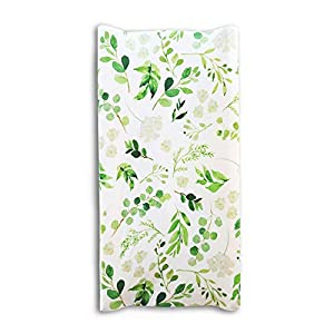 Baby Floral Diaper Changing Pad Cover Cradle Mattress Sheets, Infant Stretchy Fabric Changing Table Cover Changing Mat Cover Baby Nursery Diaper Changing Pad Sheets (Green Leaves)