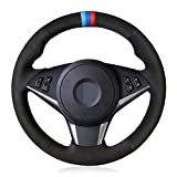 Ltxdczs para BMW E60 E61 (Touring) 530d E63 2003-2010 E64 2004-2010 Cubierta de Volante de Coche Cosida a Mano de Cuero Genuino Negro