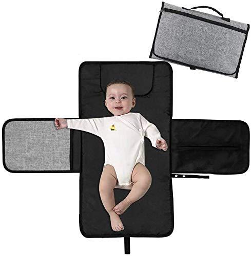 GJX- Cambiador de pañales portátil para bebé, cambiador de pañales con bolsillos para la cabeza, impermeable, plegable, kit de cambio de bebé para viajes en casa al aire libre