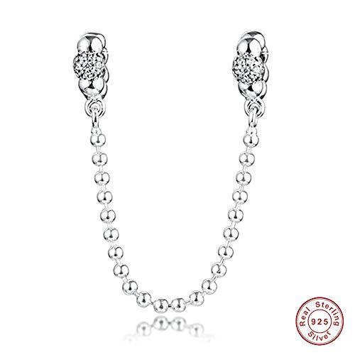 MOCCI 2020 Valentinstag Geschenk Perlen & Pflaster Sicherheitskette 925 Silber DIY Passend für Original Pandora Armbänder Charme Modeschmuck