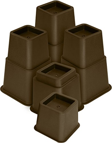 Utopia Bedding Adjustable Bed Furniture Risers - Elevation in Heights 3, 5 or 8 Inch Heavy Duty Risers for Sofa, Table, and Chair - Supports up to 1,300 lbs - (8 Piece Set, Brown)