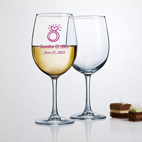 Corazón Bling Engagemet Anillo Copa de vino, soplado a mano, copas de vino impresas para inauguración de la casa, perfecto para bodas, fiestas de cumpleaños, aniversario, 17 onzas
