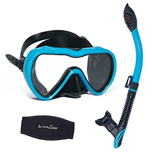 OMGear Snorkel Set Swim Goggles with Nose Mask Snorkel Combo Snorkeling Equipment Dive Goggles Snorkel Gear for Adult Junior Swimming Scuba Diving with Neoprene Mask Strap Cover (Aqua)