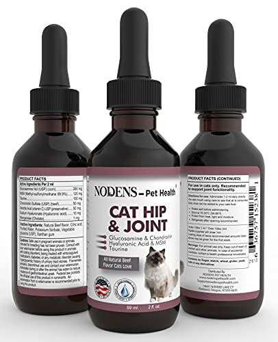 NODENS CAT Hip and Joint Glucosamine for Cats with Chondroitin and Opti-MSM Hyaluronic Acid for Improved Joint Flexibility and Pain Relief from Inflammation and Cat Arthritis 2 floz