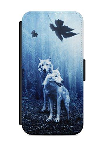 aina Kompatibel mit Samsung Galaxy A5 2016 Flipcase Handytasche Hülle mit Magnetverschluss auffklappbar Wolf Motiv Bild