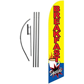 Restaurant Home Style Cooking Welcome King Swooper Feather Flag Sign Kit with Pole and Ground Spike Pack of 3