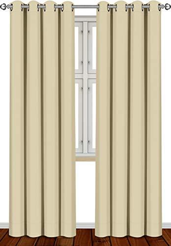 Utopia Bedding Vorhang - 2 Stück - Verdunkelungsvorhang, wärmeisolierende Fenstervorhänge / -verkleidung (Beige, 260 x 140 cm)