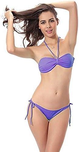 Wghz Bikini-Solid Braims Bra Bra Bikinis Three Point, M, Violet