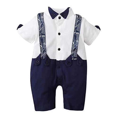 WangsCanis Pelele para bebé de 0 a 24 meses, body de manga corta, cuello de solapa con pajarita, corbata y botones #03 azul 18-24 meses