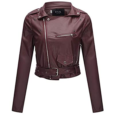 Women's Zipper Motorcycle Biker Faux Leather Jackets Coat Slim Tailoring PU Short Jacket Perfectly Shaping Punk Cropped Tops(Wine,L)