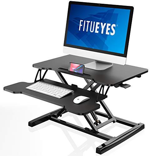 FITUEYES Sitz-Steh-Schreibtisch mit Tastaturablage Schwarz Höhenverstellbar mit Gasfeder-Stehpult für Computer L64xB40cm SD260001WB