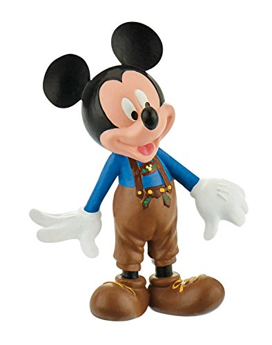 Bullyland 15390 - Spielfigur, Walt Disney Mickey in Lederhose, ca. 7 cm groß, liebevoll handbemalte Figur, PVC-frei, tolles Geschenk für Jungen und Mädchen zum fantasievollen Spielen