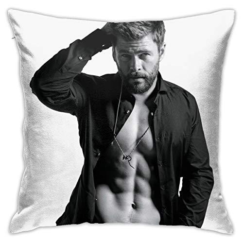 Thomas655 Chris Hemsworth Kissenbezug, Dekoration, Polyester, weich, quadratisch, Reißverschluss, 45,7 x 45,7 cm