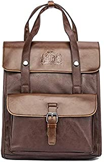 Baroque Royal Vegan Leather Vintage Backpack for Men and Women, Laptop Bag with Padded Compartment, Retro Back Pack for Work, School, College, Business, Travel, Books (Brown)