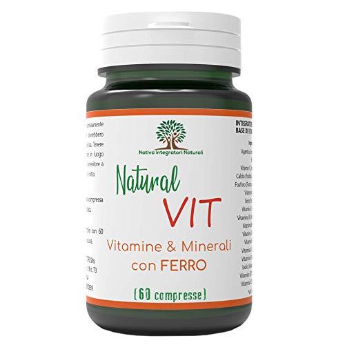 Natural Vit - Integratore Multivitaminico Completo per Uomo e Donna - Vitamine e Minerali per Difese Immunitarie - 60 Compresse