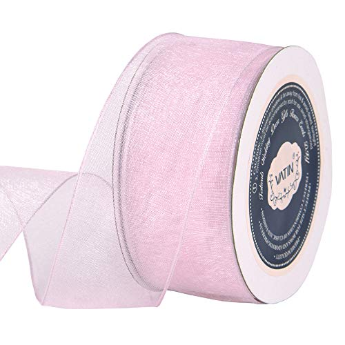 VATIN Christmas Ribbon Sheer Organza Wired Ribbon 1-1/2 inch 25 Yards (75Ft) -Light Pink/Baby Pink,Perfect for Making Bows and Wreaths