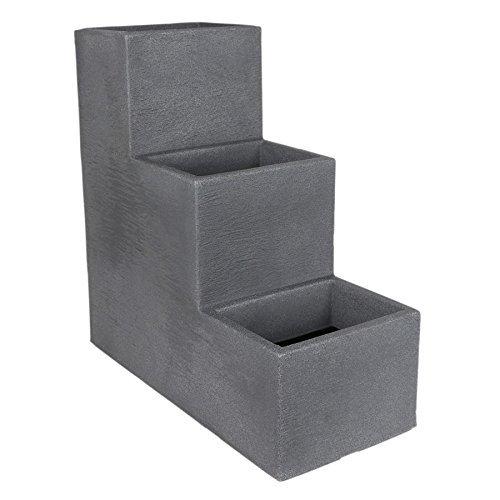 Freizeitmöbel und Leitern Kölle Pflanzkübel-Treppe Kubus anthrazit, 60x27x60 cm, 60 Liter Erdvolumen