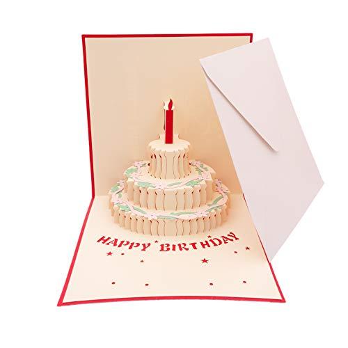 Papier 3D Pop Up Geburtstagstorte Karte rote Farbe Postkarte Geschenkkarte Liebe Aufkleber für Geburtstag Geburtstagsgeschenk handgefertigt