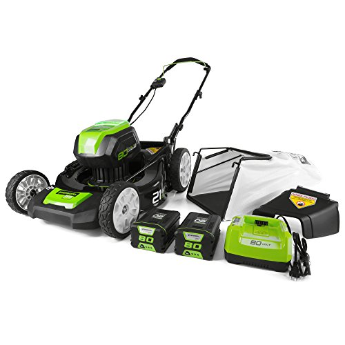 Greenworks GLM801601 21-Inch 80V Cordless Push Lawn Mower, includes two 2Ah Batteries and Charger