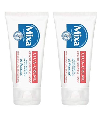 Mixa Cica-Handcreme, hochverträglich, mit Panthenol, auch für Gesicht und Körper, ohne Parfüm, 2er Pack (2 x 50 ml)