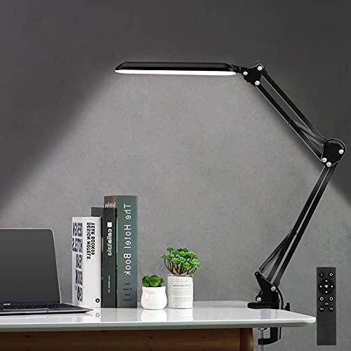 Lámpara de Escritorio LED con atenuación Continua, Maxuni 15W Lámpara de mesa con sensor táctil, Lámpara de lectura de brazo Eye-Care Ideal para oficina Estudio Lectura Dormitorio Arquitecto.