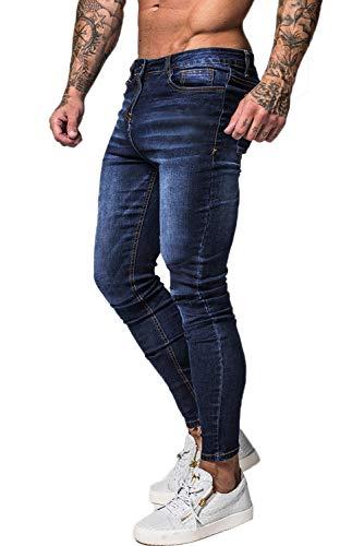 GINGTTO Skinny Jeans for Men Slim FIt Stretch Elastic Waist Mens Pant High Rise 32x30 Dark Blue